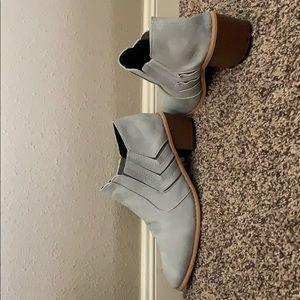Grey ankle booties soft leather